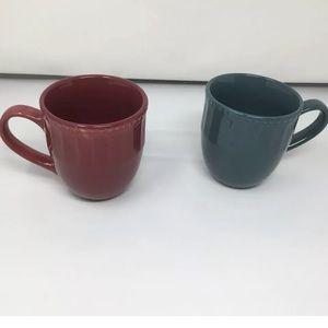 Citrus Grove red green hand paint coffee mug set